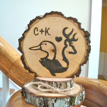Rustic Wedding Cake Topper Deer Duck Fish Wood Burned Hunting Customized