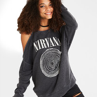 AE Cold Shoulder Nirvana Graphic Sweatshirt, Black