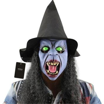 ESBONIS Horror Haunted Latex Halloween Witch Mask Party Cosplay Props Supplies