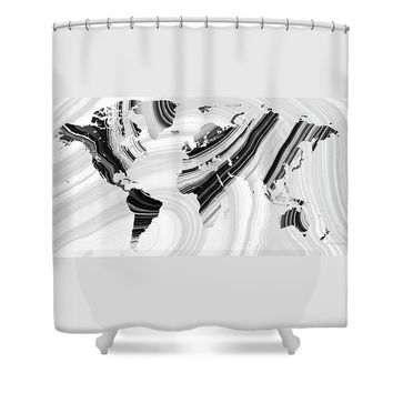 Black And White Marbled World Map - Sharon Cummings Shower Curtain
