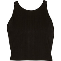 River Island Womens Black V strap back crop top