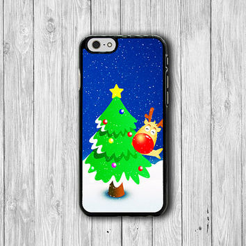 Cute Reindeer Cartoon Christmas Phone Cases iPhone 6 / 6S Cover Personalized Electronic Case iPhone 5 /5S iPhone 5C Rubber Phone Cases Gift