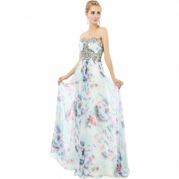 Evening Gowns A line Flower Floral Printed Chiffon Applique Floor length long