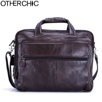 OTHERCHIC Men Leather Handbags Men Crossbody Bags Cow Leather Genuine Leather Briefcafe Laywer Bags Men Portfolios 17Y04-80