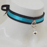 Kitten play collar - Neon light - ddlg princess collar BDSM proof adult pet choker - turquoise and black with bell - skinny fit