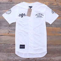 Kustom Life White Cotton Baseball Jersey