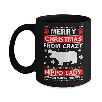 Merry Christmas From Crazy Hippo Lady Sweater Mug