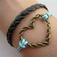 Bracelet-antique bronze heart bracelet,heart wax cord bracelet,braid bracelet-Z010