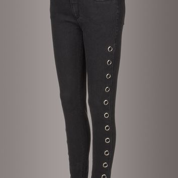 Weslin + Grant The Wild One Black Denim Skinny Jeans with Grommets