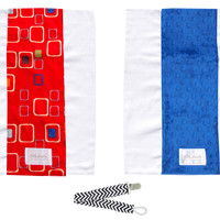 Baby Laundry 92131 Red & Blue 2-Pack Soft Minky Burp Cloths with Pacifier Clip