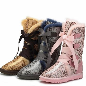 UGG Winter Warm Fashion Women Men Fur Leopard Print Snow Boots Anti-Skid High Boots