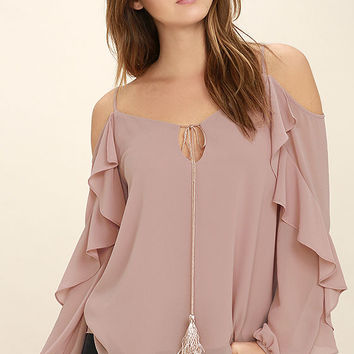 The Wonder of You Mauve Off-the-Shoulder Top
