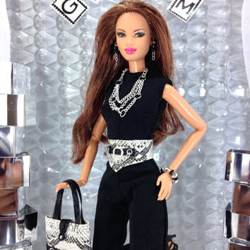 Barbie Doll Clothes - Black Jumpsuit with Belt, Purse, Shoes, Necklace, Earrings, and Bracelet