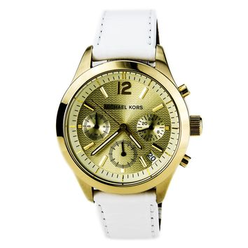 Michael Kors MK5285 Women's Chronograph White Leather Strap Gold Dial Watch