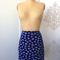 ON SALE! Amazing Vintage 90s Slinky Daisy Bodycon Mini Skirt