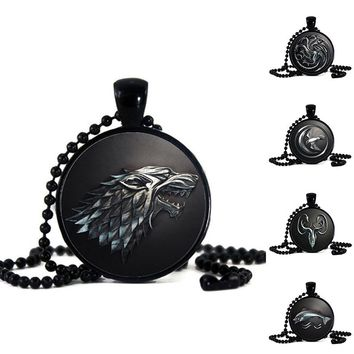 Black Game Of Thrones Family Crest Necklace (9 choices)