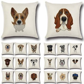 Pug Dog Bulldog Pattern Cotton Linen Throw Pillow Cushion Cover
