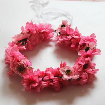 Hot Pink Flower Crown Hairband