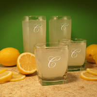 4 - Newlywed Two-Tall & Two-Small Set of Drinking Glasses with Font Selection ADD Cork Coaster Set (Set of Two 16 oz. and Two 10.5 oz.)