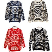 Vintage Geometric pattern knitted sweater