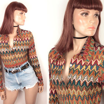 90s zig zag knit top // button down