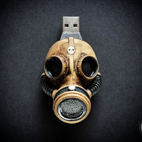 "Steampunk  flash drive - Hand made 32 Gb ""GAS MASK"" memory drive - USB 2"