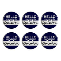 Quinton Hello My Name Is Plastic Resin Button Set of 6