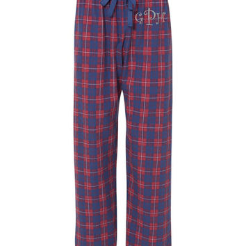 Monogram Flannel Pajama Pants Blue and Red Personalized Christmas Gift Under 30 Dollars