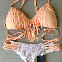 Nude Peach And Sand Snake Fringe bikini set By BEACH BABE SWIMWEAR
