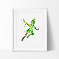 Peter Pan Watercolor Art Print