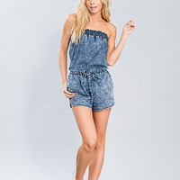 Junior Chambray Strapless Romper