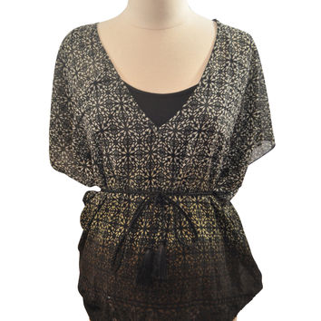 Black & White Short Sleeve Blouse by Jessica Simpson