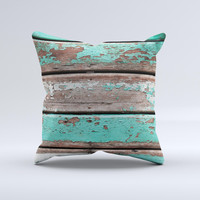 Chipped Teal Paint On Wood Ink-Fuzed Decorative Throw Pillow