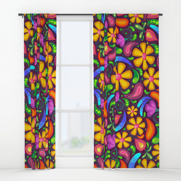 Colorful Floral Paisley Window Curtains by Smyrna