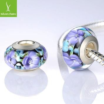 Hot 925 Sterling Silver Flower Murano Glass Beads Fit Pandora Bracelet Bangles Charms