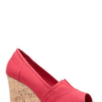 Red Corked Woven Peep Toe Wedges