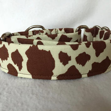 "Canyon Trails Cowhide Brown Green Martingale or Quick Release Collar 1"" Martingale Collar, 1.5"" Martingale Collar Giraffe"