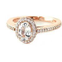 14K White Sapphire Engagement Ring Oval Halo Setting 14K 18K White Yellow Rose Gold Platinum Palladium Bridal Jewelry