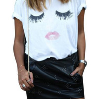 White Short Sleeve Eyelash Lip Print Graphic T-Shirt