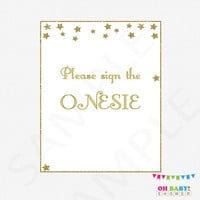 Sign the Onesuit, Twinkle Twinkle Little Star Baby Shower, Gold Baby Shower Gender Neutral Guestbook Alternative, 8x10, Instant Download STPG
