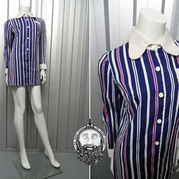 Vintage 60s Mod Beagle Collar Vertical Stripe Shift Dress Mini Dress Long Sleeve Rounded Collar Penny Collar Scooter Dress Babydoll Dress