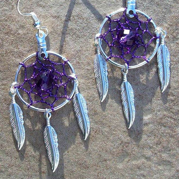 Who Loves Purple ll - Purple, silver & Amethyst Dream catcher earrings