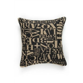 Typo Over-sized Jute Burlap Throw Pillow - 20-in x 20-in - Black / Brown