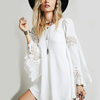 White Chiffon Lace Embroidered Bell Sleeve A-Line Mini Dress