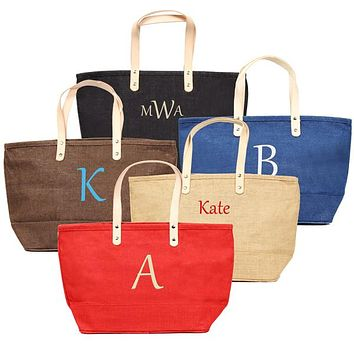 Personalized Red Nantucket Tote Bag