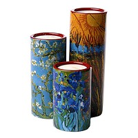 Van Gogh Paintings Tealight Ceramic Candleholder Irises Blossoms Willows Set 3 5.9H