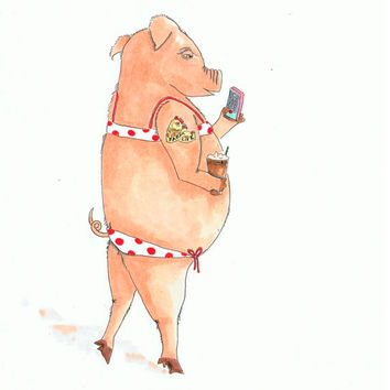 Hipster pig watercolor painting, pig in polka dot bikini with coffee and phone, Animals in clothes, Hipster Animal Art, 8x10 print