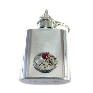 1 Oz. Stainless Steel Key Chain Flask with Steampunk Watch Gear Pendant and Red Swarovski Crystal