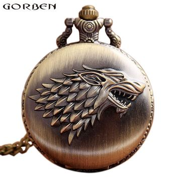 Retro Bronze Game Of Thrones Stark House Wolf Pocket Watch Necklace Quartz Fob Antique Clock Chain Pendant For Men Women Gift