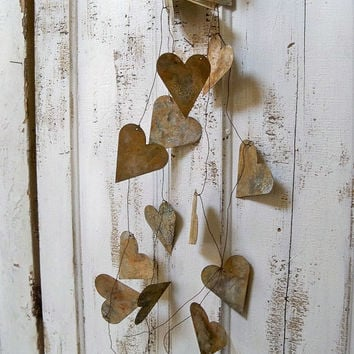 Metal garland large rusty hearts French chic vignette wedding decoration home decor Anita Spero